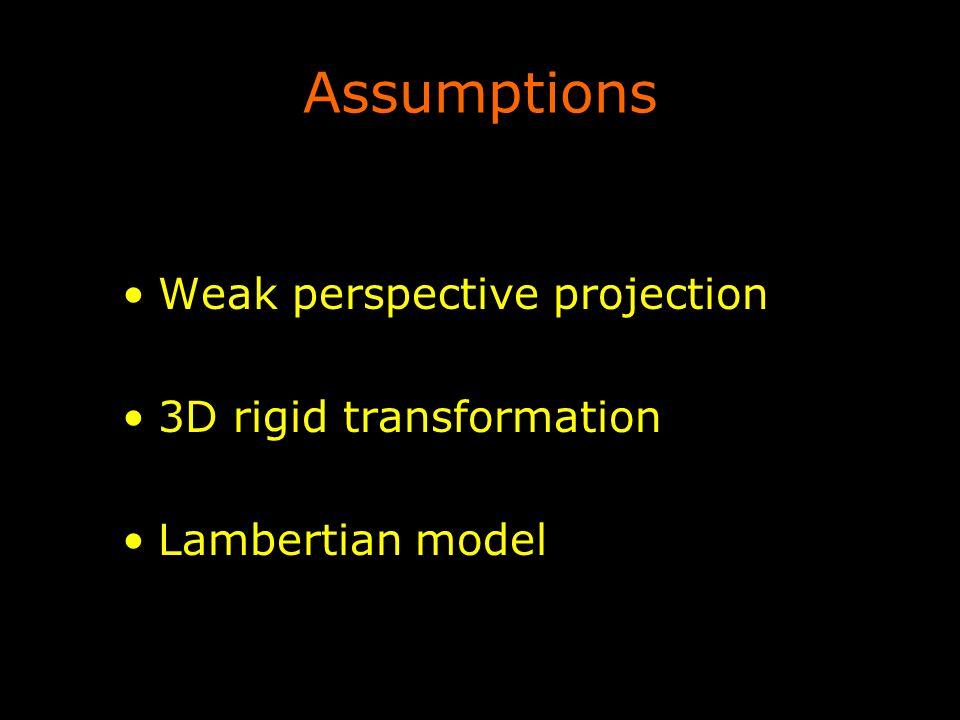 Assumptions Weak perspective projection 3D rigid transformation Lambertian model
