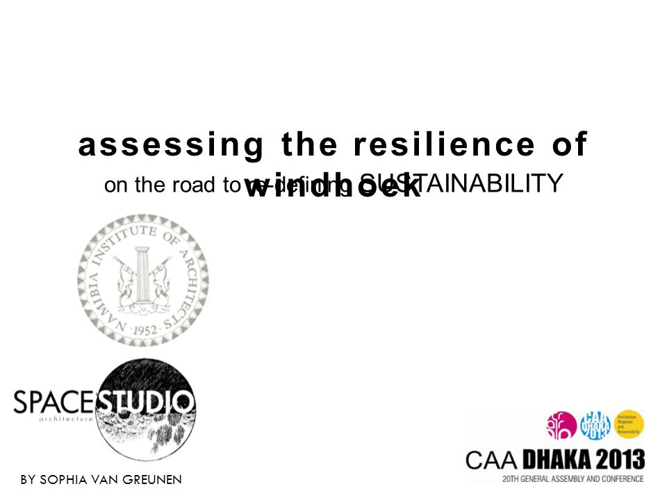 ASSESSING THE RESILIENCE OF WINDHOEK Sustainability