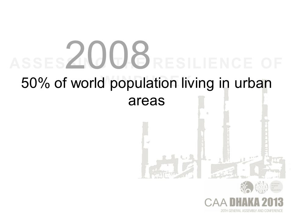 ASSESSING THE RESILIENCE OF WINDHOEK 50% of world population living in urban areas 2008