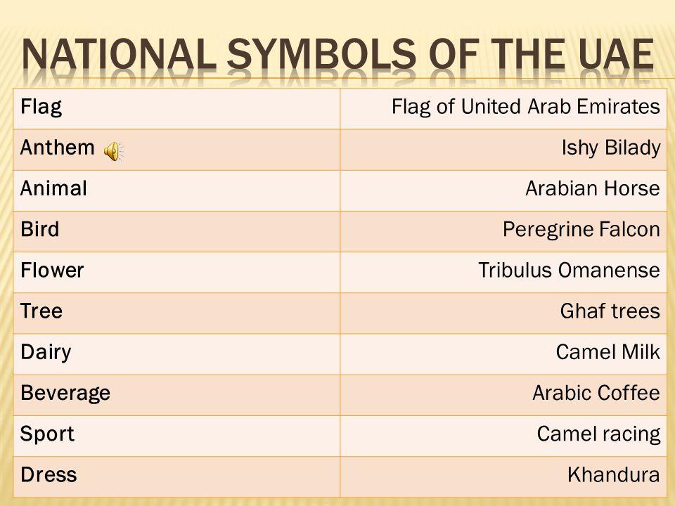 FlagFlag of United Arab Emirates AnthemIshy Bilady AnimalArabian Horse BirdPeregrine Falcon FlowerTribulus Omanense TreeGhaf trees DairyCamel Milk BeverageArabic Coffee SportCamel racing DressKhandura