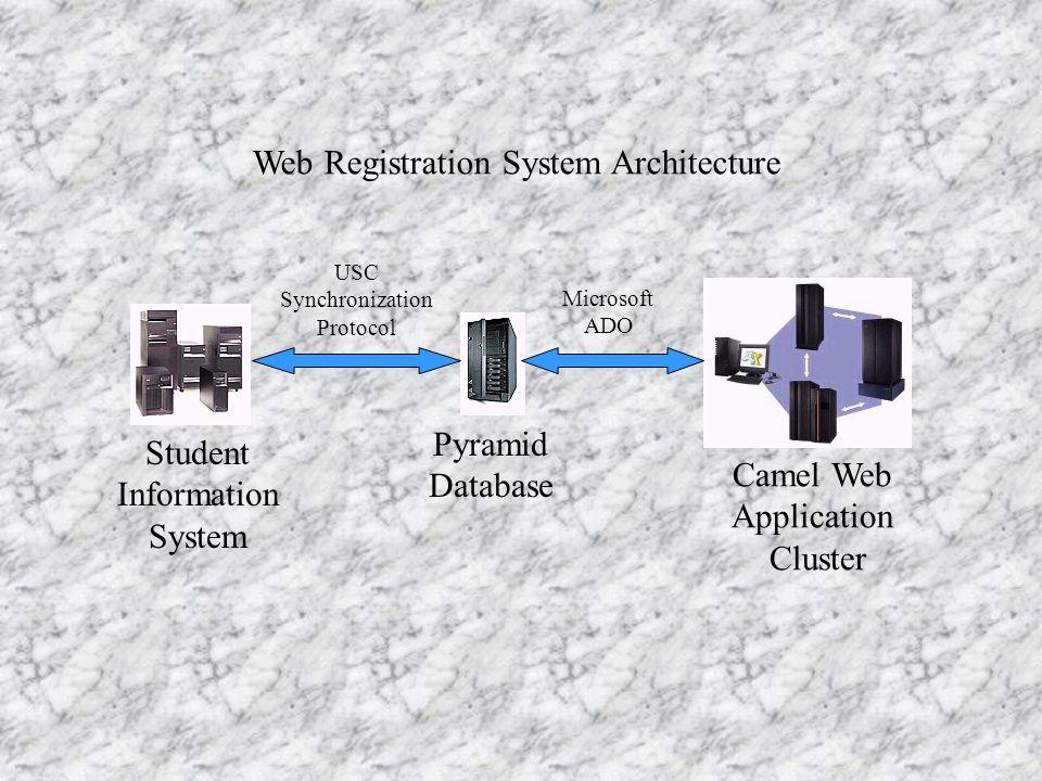 Web Registration System Architecture Student Information System Pyramid Database Camel Web Application Cluster Microsoft ADO USC Synchronization Protocol