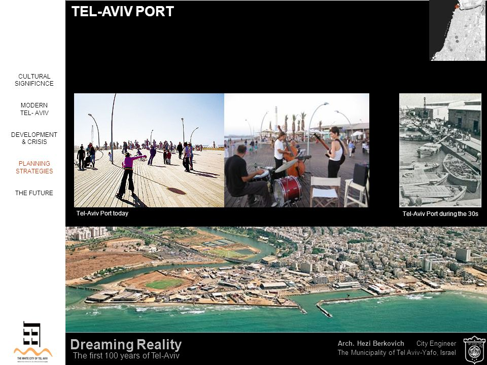 Arch. Hezi Berkovich City Engineer The Municipality of Tel Aviv-Yafo, Israel Dreaming Reality The first 100 years of Tel-Aviv CULTURAL SIGNIFICNCE MOD
