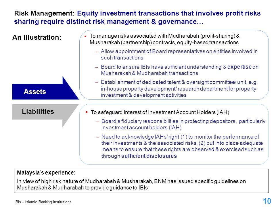 10 Risk Management: Equity investment transactions that involves profit risks sharing require distinct risk management & governance… An illustration: