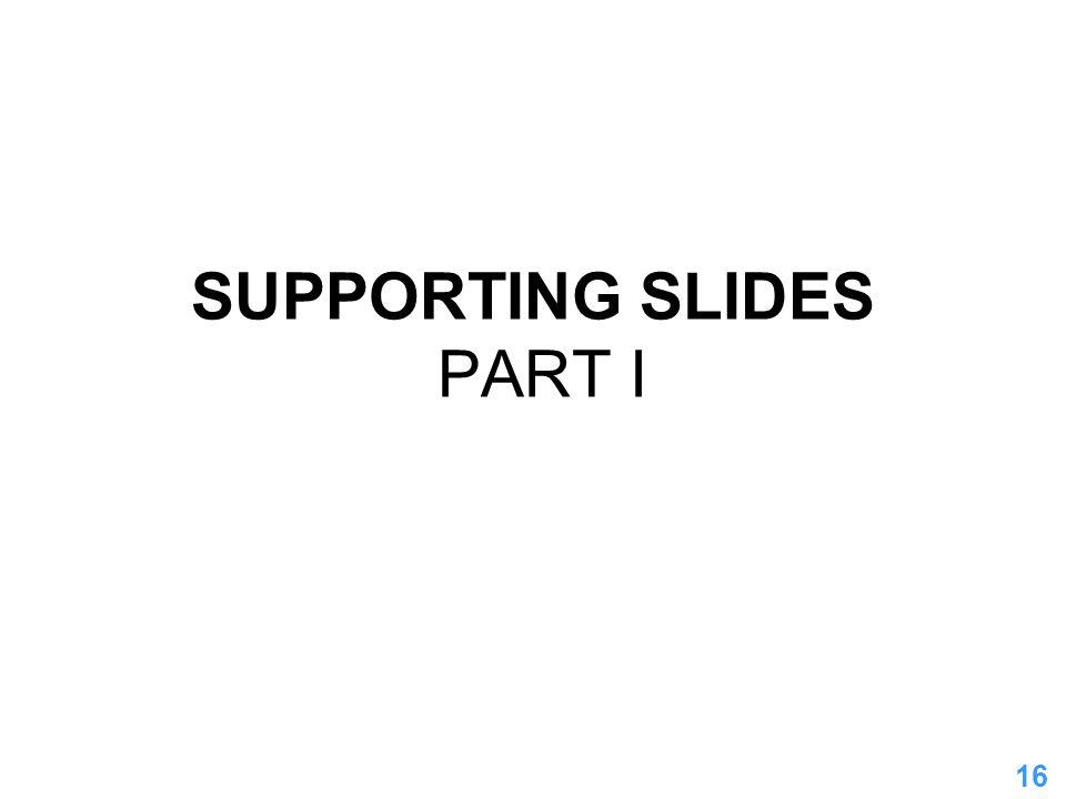 16 SUPPORTING SLIDES PART I