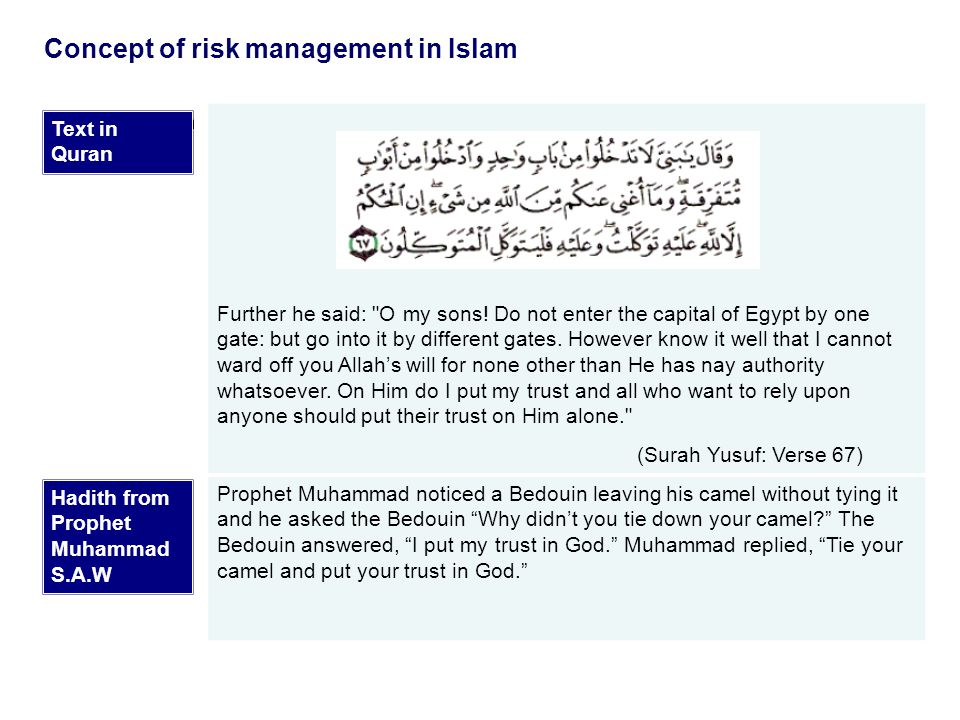 Concept of risk management in Islam  Text in Quran Further he said: