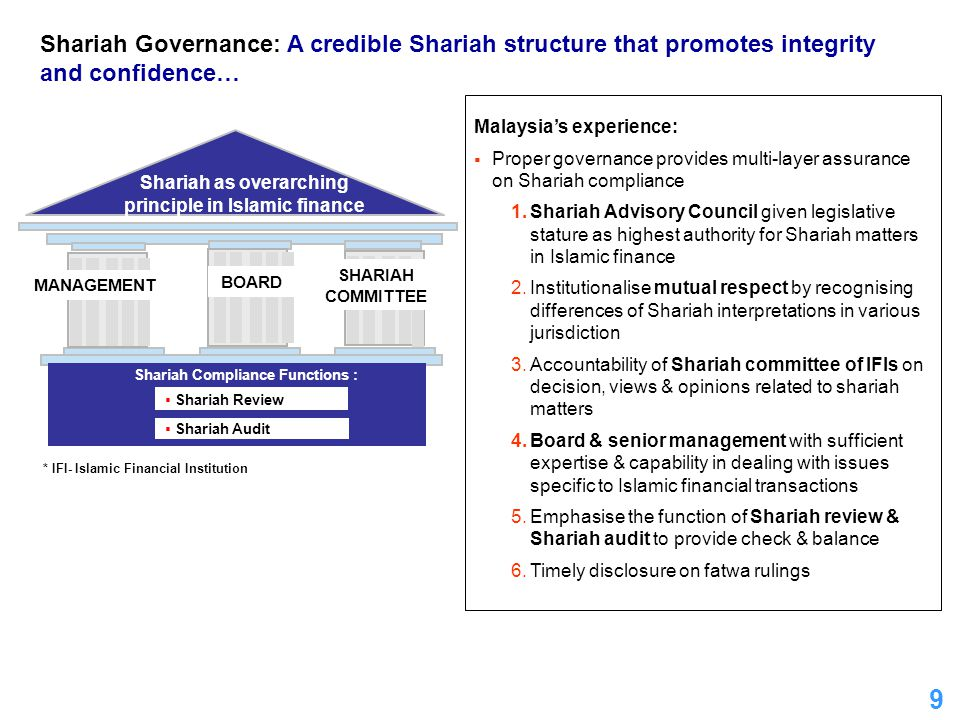 9 Malaysia's experience:  Proper governance provides multi-layer assurance on Shariah compliance 1.Shariah Advisory Council given legislative stature