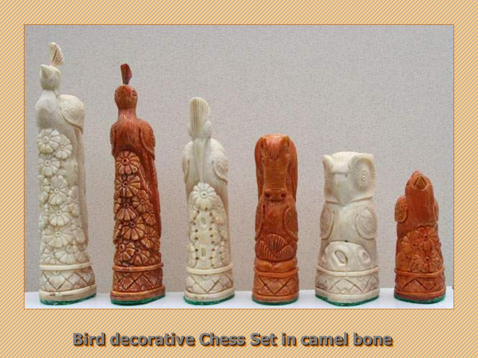 Bird decorative Chess Set in camel bone Bird decorative Chess Set in camel bone
