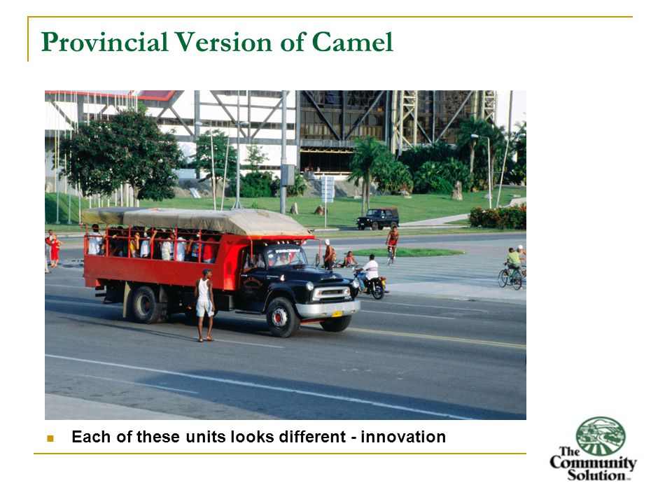 Provincial Version of Camel Each of these units looks different - innovation