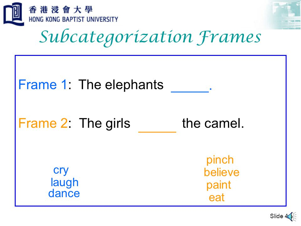Slide 3 Subcategories Words Nouns Verbs Adjectives … intransitive transitive ditransitive Subcategories of VERB