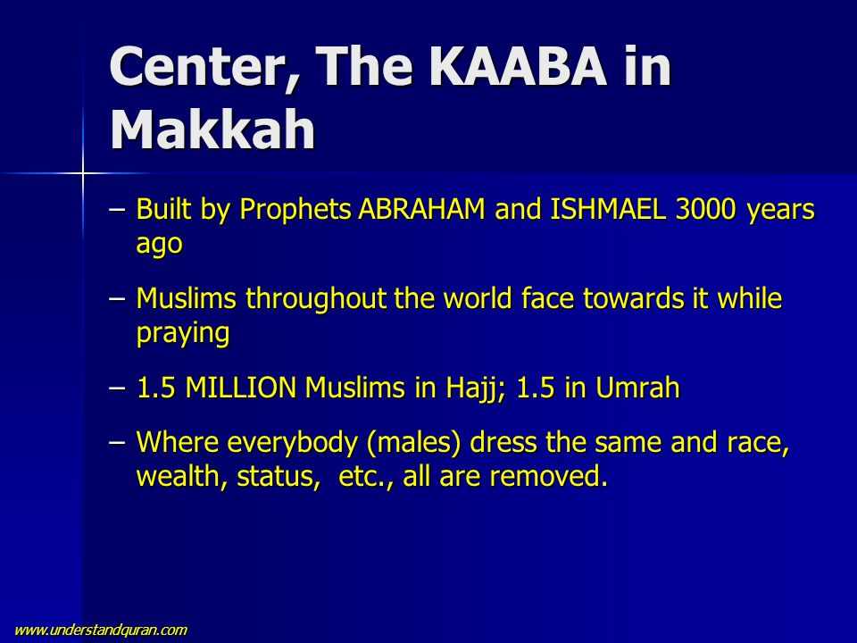 www.understandquran.com Center, The KAABA in Makkah –Built by Prophets ABRAHAM and ISHMAEL 3000 years ago –Muslims throughout the world face towards i