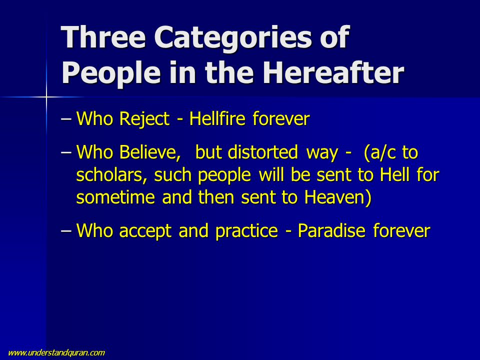 www.understandquran.com Three Categories of People in the Hereafter –Who Reject - Hellfire forever –Who Believe, but distorted way - (a/c to scholars,