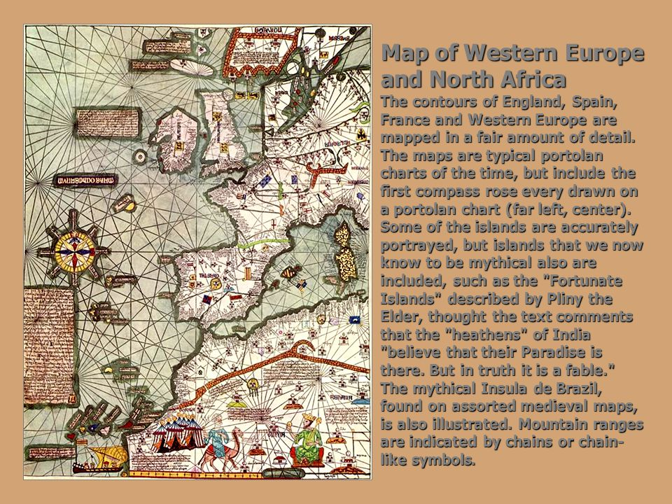 Map of Western Europe and North Africa The contours of England, Spain, France and Western Europe are mapped in a fair amount of detail. The maps are t