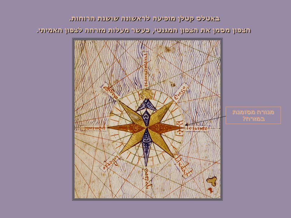 באטלס קטלן מופיעה לראשונה שושנת הרוחות. הצפון מסמן את הצפון המגנטי, כעשר מעלות מזרחה לצפון האמיתי.