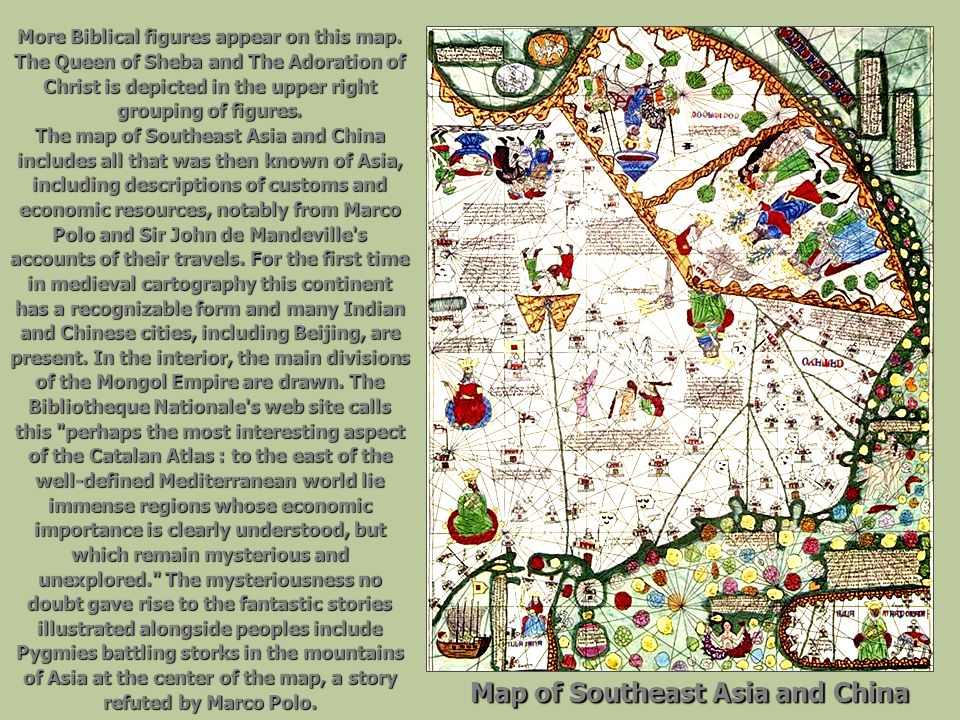 More Biblical figures appear on this map. The Queen of Sheba and The Adoration of Christ is depicted in the upper right grouping of figures. The map o