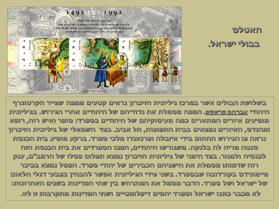 בשלושת הבולים אשר במרכז גיליונית הזיכרון נראים קטעים ממפה שצייר הקרטוגרף היהודי אברהם קרשקש.
