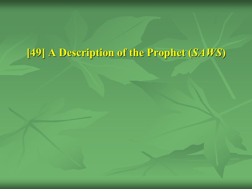 [49] A Description of the Prophet (SAWS)