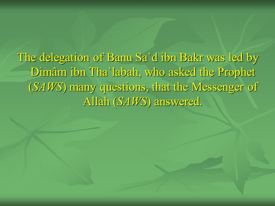 The delegation of Banu Sa`d ibn Bakr was led by Dimâm ibn Tha`labah, who asked the Prophet (SAWS) many questions, that the Messenger of Allah (SAWS) a