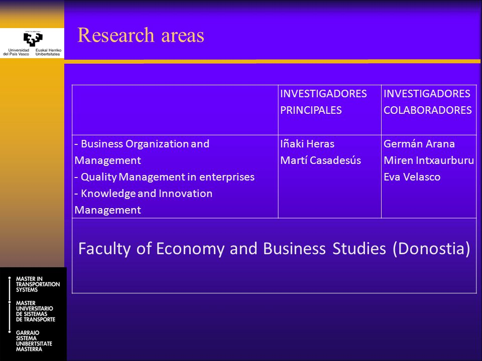 Research areas INVESTIGADORES PRINCIPALES INVESTIGADORES COLABORADORES - Business Organization and Management - Quality Management in enterprises - Kn