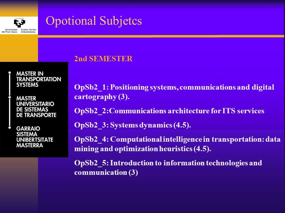 Opotional Subjetcs 2nd SEMESTER OpSb2_1: Positioning systems, communications and digital cartography (3).