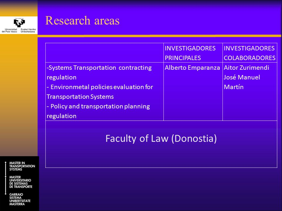 Research areas INVESTIGADORES PRINCIPALES INVESTIGADORES COLABORADORES -Systems Transportation contracting regulation - Environmetal policies evaluati