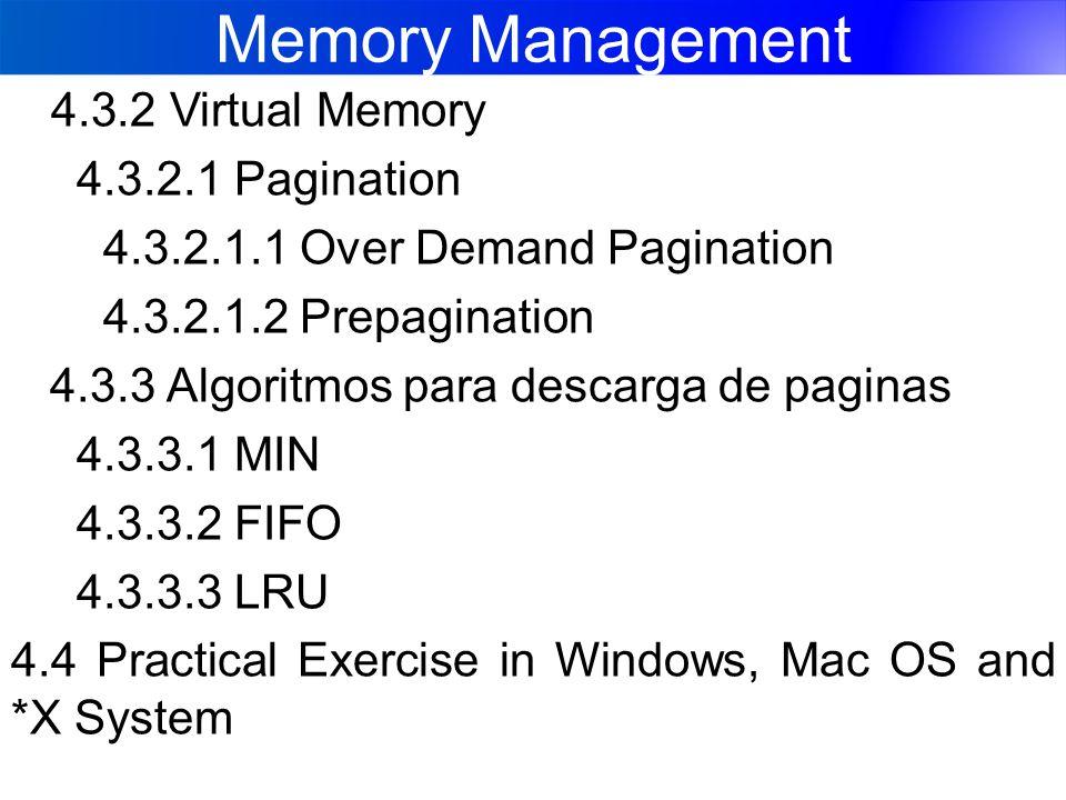 Memory Management 4.3.2 Virtual Memory 4.3.2.1 Pagination 4.3.2.1.1 Over Demand Pagination 4.3.2.1.2 Prepagination 4.3.3 Algoritmos para descarga de paginas 4.3.3.1 MIN 4.3.3.2 FIFO 4.3.3.3 LRU 4.4 Practical Exercise in Windows, Mac OS and *X System