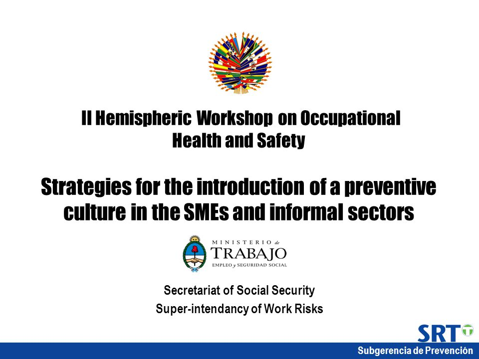 Subgerencia de Prevención II Hemispheric Workshop on Occupational Health and Safety Strategies for the introduction of a preventive culture in the SMEs and informal sectors Secretariat of Social Security Super-intendancy of Work Risks