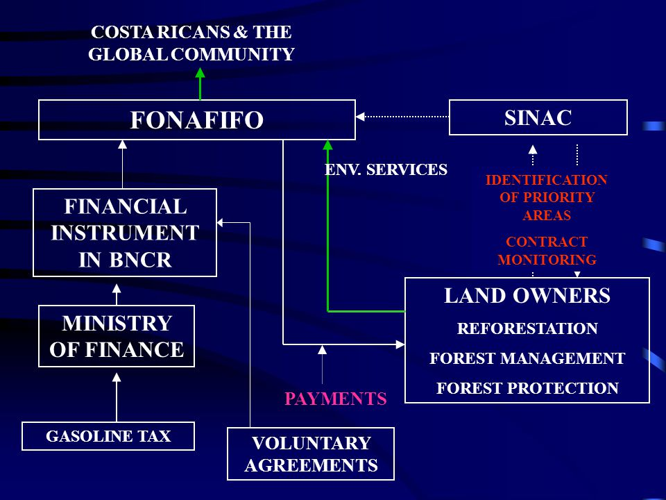 FONAFIFO LAND OWNERS REFORESTATION FOREST MANAGEMENT FOREST PROTECTION GASOLINE TAX MINISTRY OF FINANCE FINANCIAL INSTRUMENT IN BNCR SINAC COSTA RICANS & THE GLOBAL COMMUNITY ENV.