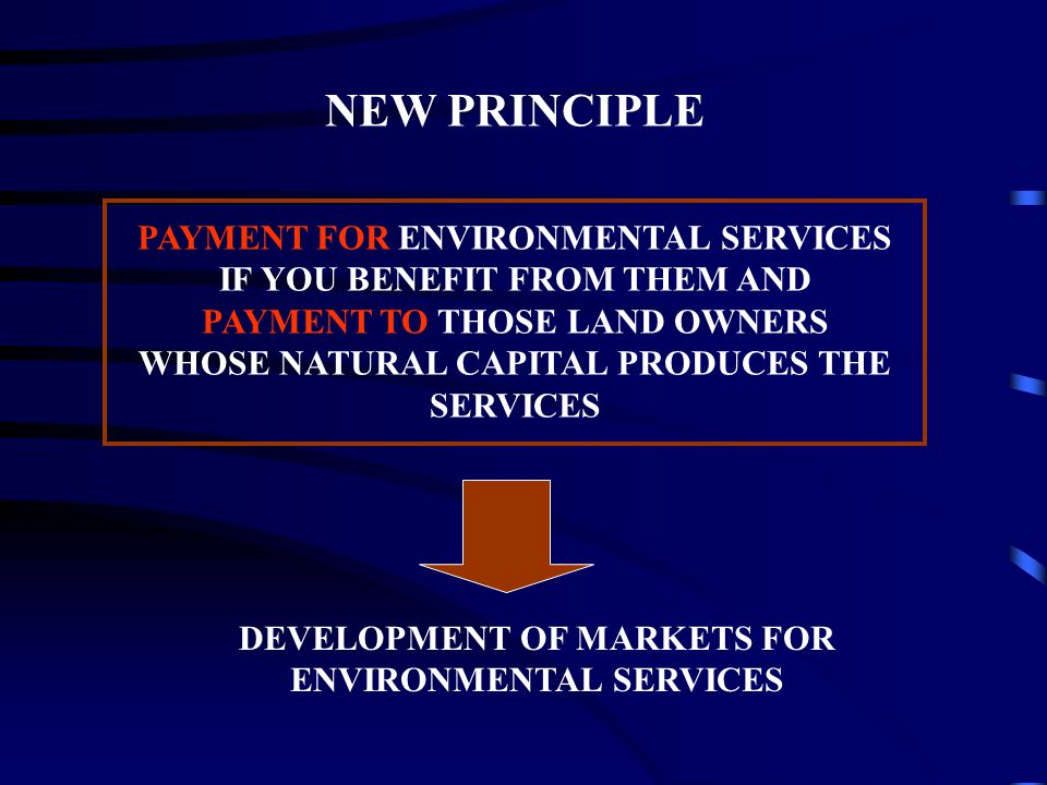 PAYMENT FOR ENVIRONMENTAL SERVICES IF YOU BENEFIT FROM THEM AND PAYMENT TO THOSE LAND OWNERS WHOSE NATURAL CAPITAL PRODUCES THE SERVICES NEW PRINCIPLE DEVELOPMENT OF MARKETS FOR ENVIRONMENTAL SERVICES