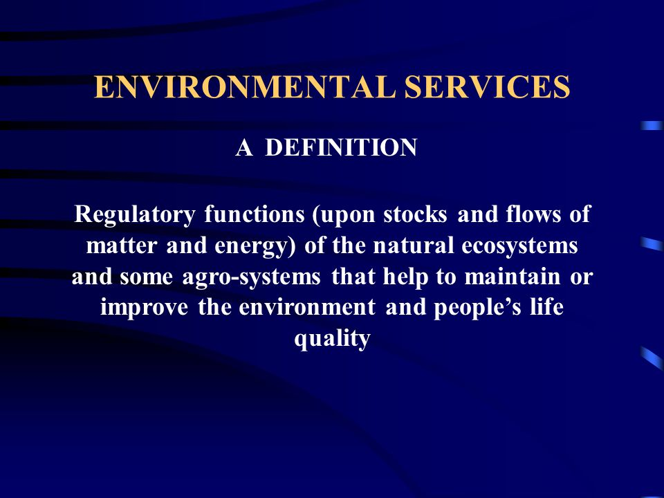 A DEFINITION Regulatory functions (upon stocks and flows of matter and energy) of the natural ecosystems and some agro-systems that help to maintain or improve the environment and people's life quality