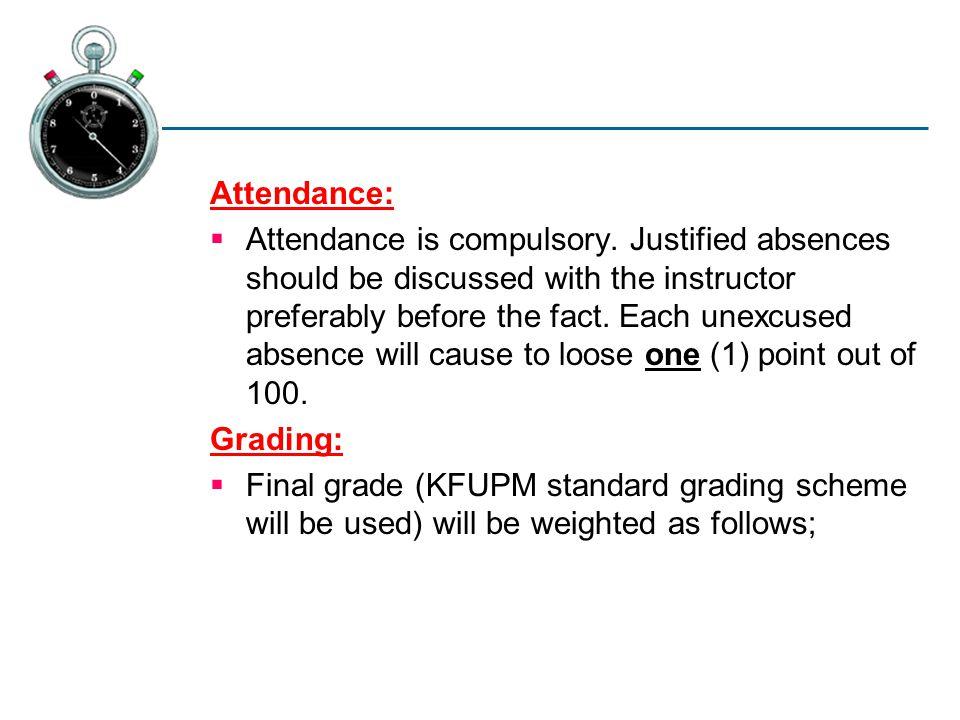 Attendance:  Attendance is compulsory.