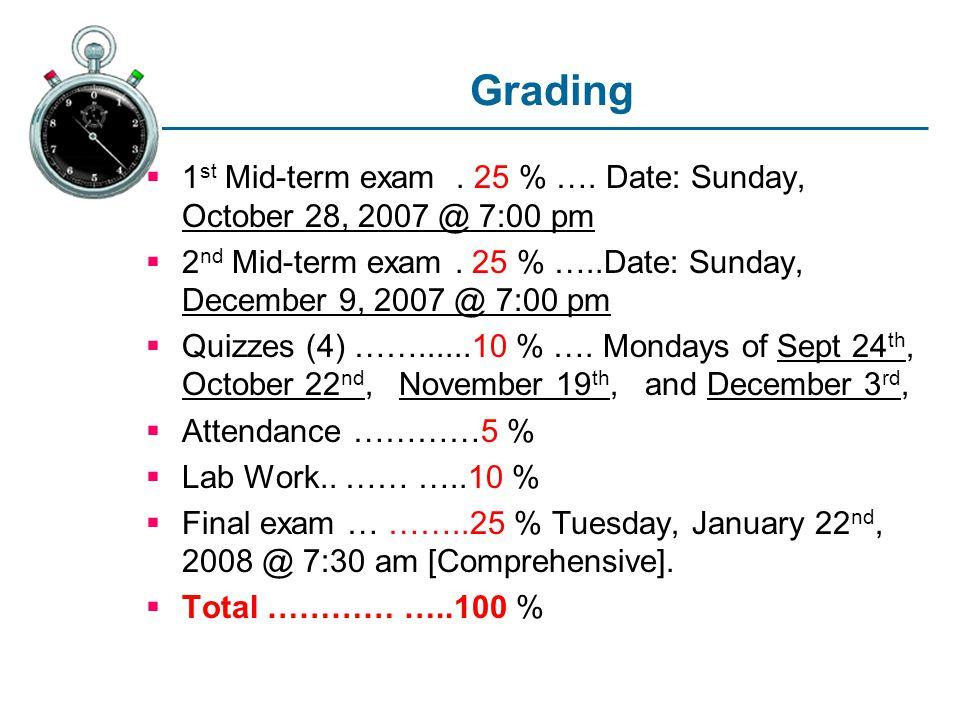 Grading  1 st Mid-term exam. 25 % ….