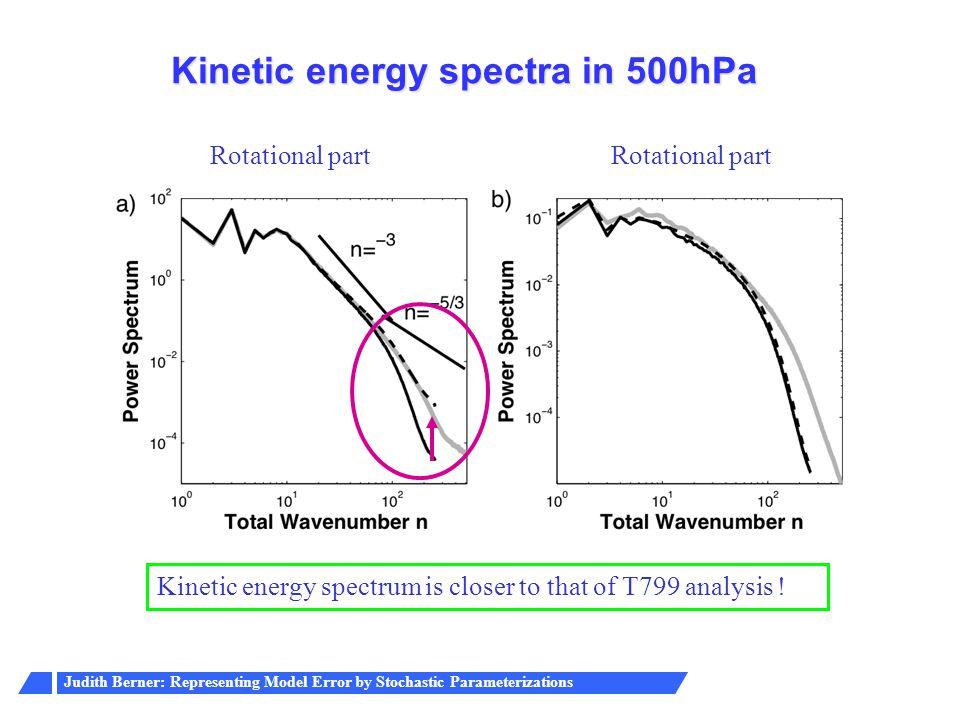 Judith Berner: Representing Model Error by Stochastic Parameterizations Kinetic energy spectra in 500hPa Kinetic energy spectrum is closer to that of