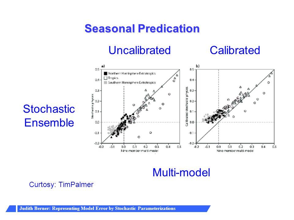 Judith Berner: Representing Model Error by Stochastic Parameterizations Seasonal Predication Multi-model Stochastic Ensemble Curtosy: TimPalmer Uncali