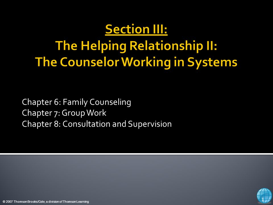 © 2007 Thomson Brooks/Cole, a division of Thomson Learning Couples and Family Counseling 2