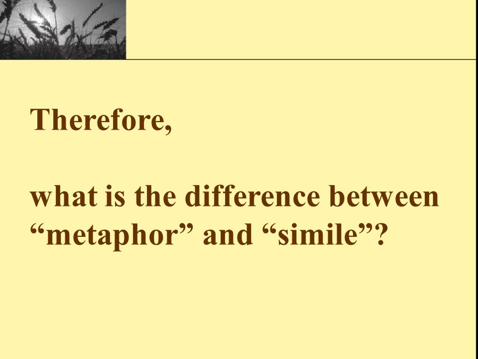 """A """"simile"""" different from metaphor, compares by using the word"""