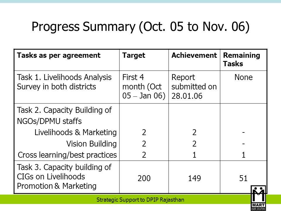 Strategic Support to DPIP Rajasthan Progress Summary (Oct.