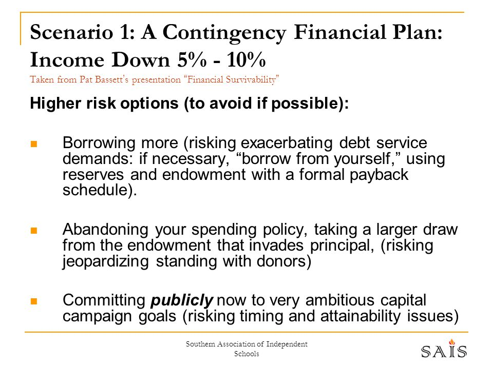 """Southern Association of Independent Schools Scenario 1: A Contingency Financial Plan: Income Down 5% - 10% Taken from Pat Bassett ' s presentation """" F"""