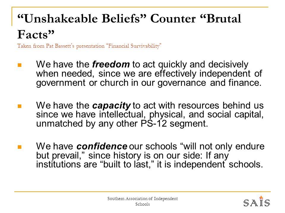 "Southern Association of Independent Schools ""Unshakeable Beliefs"" Counter ""Brutal Facts"" Taken from Pat Bassett ' s presentation "" Financial Survivabi"