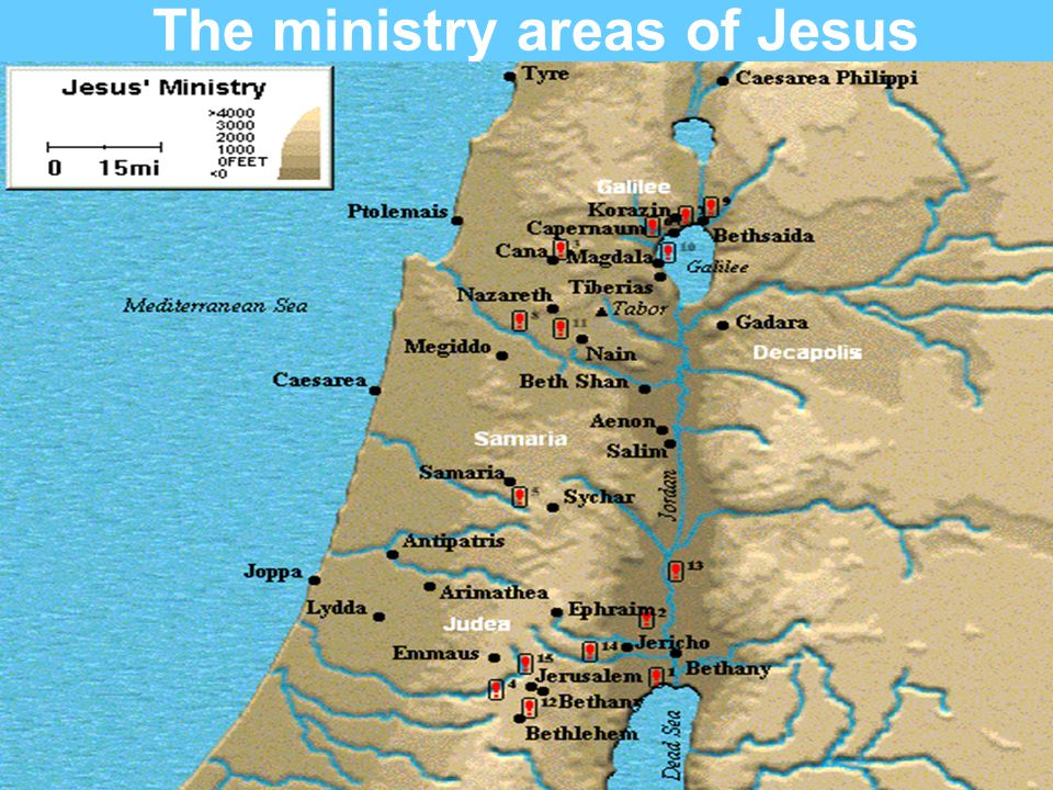The ministry areas of Jesus