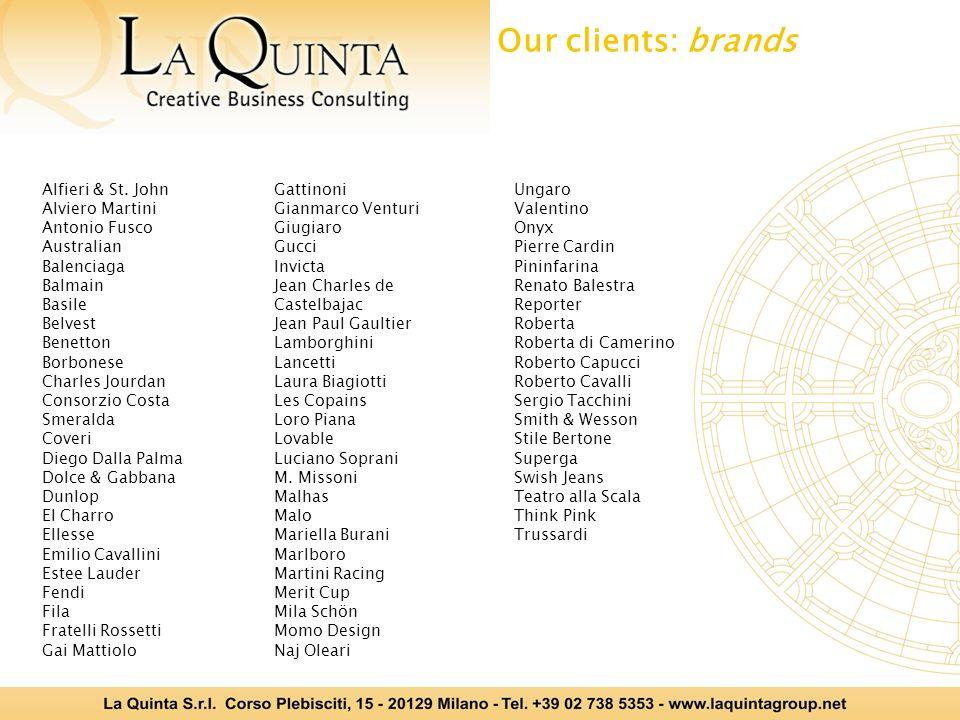 Our clients: brands Alfieri & St. John Alviero Martini Antonio Fusco Australian Balenciaga Balmain Basile Belvest Benetton Borbonese Charles Jourdan C