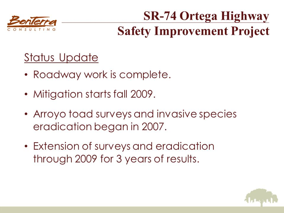 Status Update Roadway work is complete. Mitigation starts fall 2009.