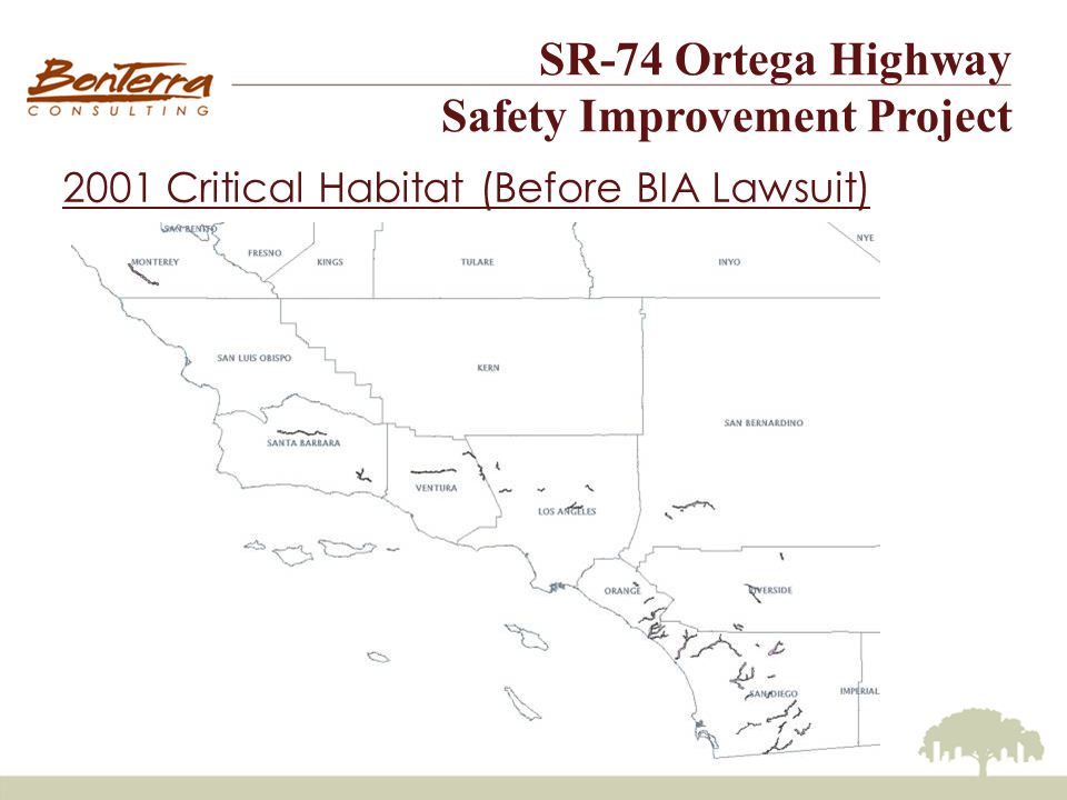 SR-74 Ortega Highway Safety Improvement Project 2001 Critical Habitat (Before BIA Lawsuit)