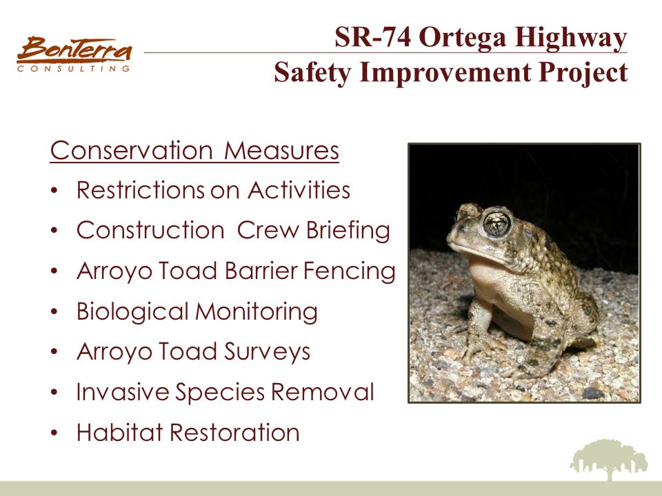SR-74 Ortega Highway Safety Improvement Project Conservation Measures Restrictions on Activities Construction Crew Briefing Arroyo Toad Barrier Fencing Biological Monitoring Arroyo Toad Surveys Invasive Species Removal Habitat Restoration