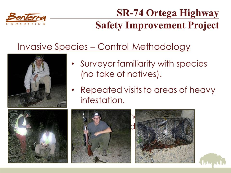 SR-74 Ortega Highway Safety Improvement Project Invasive Species – Control Methodology Surveyor familiarity with species (no take of natives).