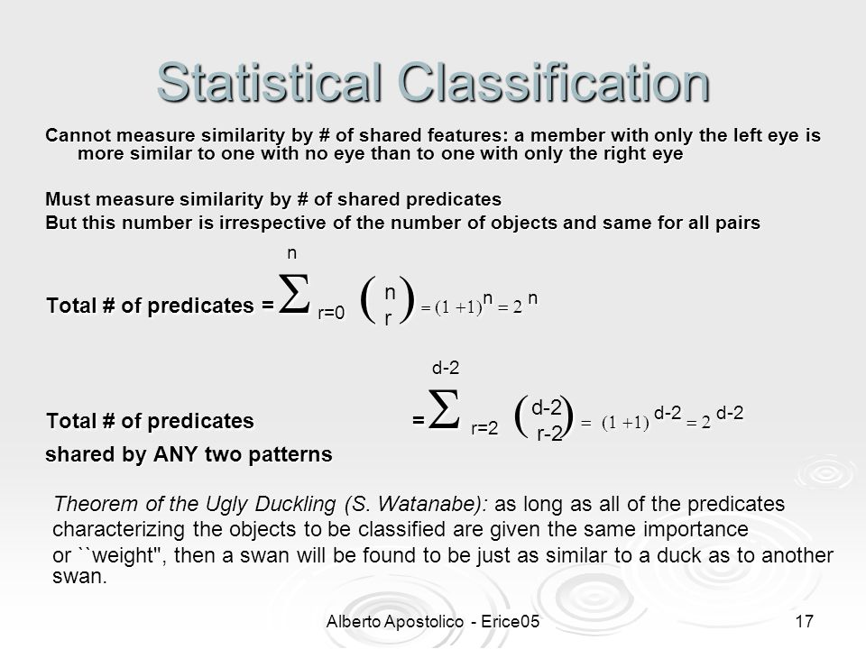 Alberto Apostolico - Erice0516 Statistical Classification Theorem of the Ugly Duckling (S.