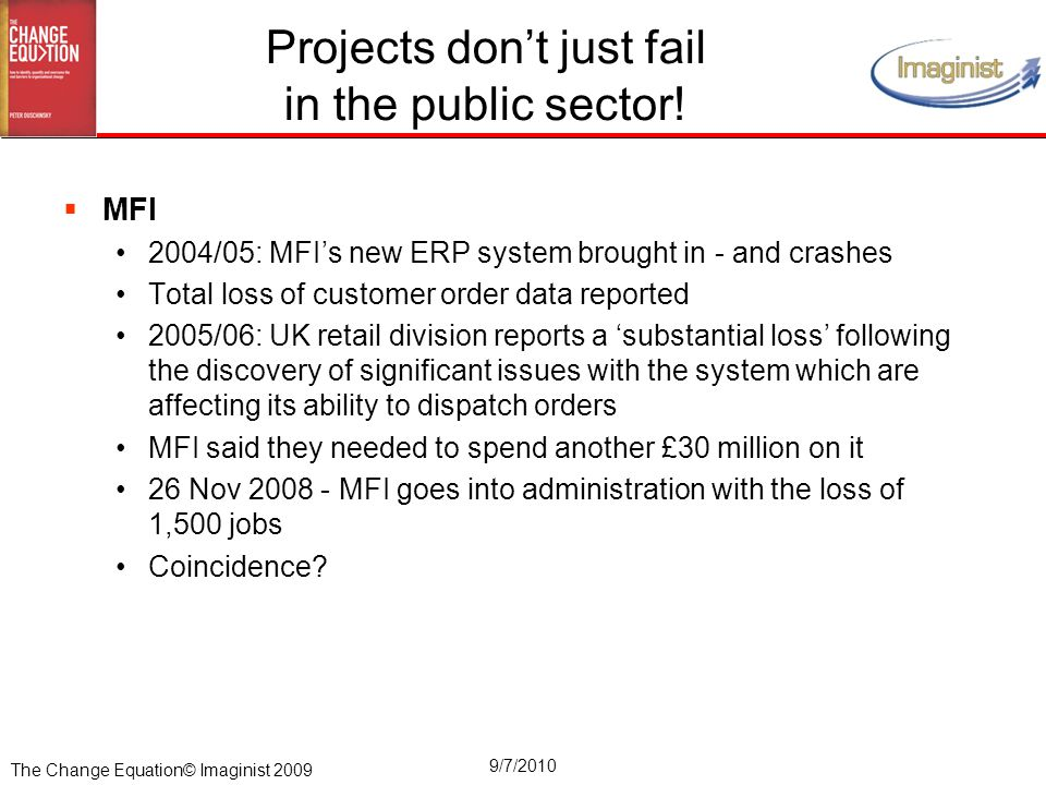 The Change Equation© Imaginist 2009 9/7/2010 Projects don't just fail in the public sector.
