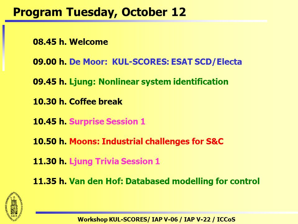 Workshop KUL-SCORES/ IAP V-06 / IAP V-22 / ICCoS 12.15 – 14.00 h. : Lunch