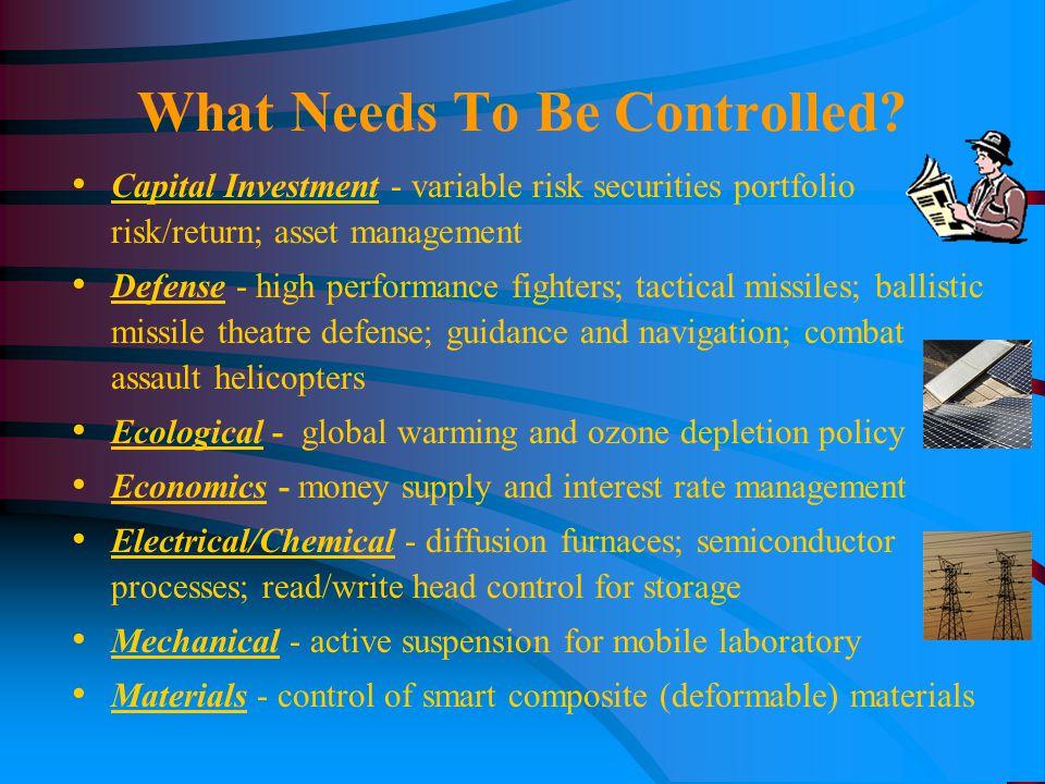 Capital Investment - variable risk securities portfolio risk/return; asset management Defense - high performance fighters; tactical missiles; ballisti