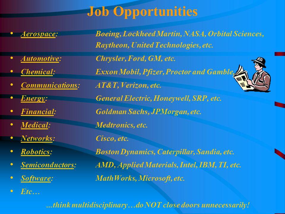 Aerospace: Boeing, Lockheed Martin, NASA, Orbital Sciences, Raytheon, United Technologies, etc.