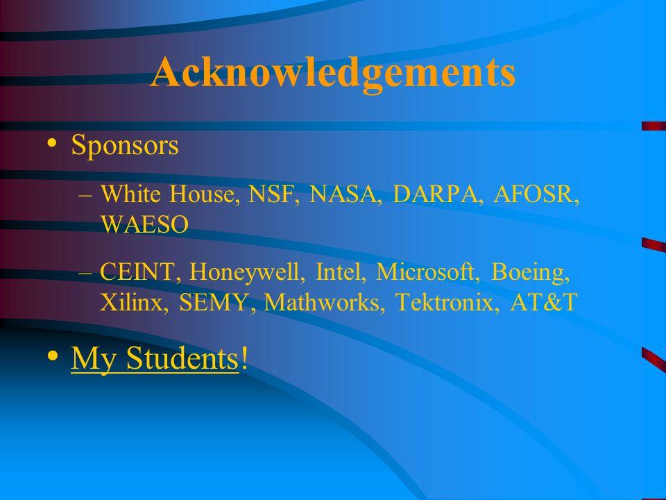 Acknowledgements Sponsors –White House, NSF, NASA, DARPA, AFOSR, WAESO –CEINT, Honeywell, Intel, Microsoft, Boeing, Xilinx, SEMY, Mathworks, Tektronix, AT&T My Students!